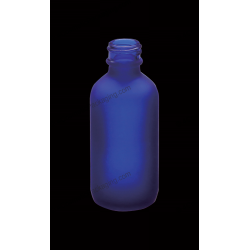 2oz Boston Round Frosted Cobalt Blue Glass Bottle