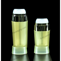 Dual 30ml Oval Shape Plastic PP Airless Bottle Container for Cosmetic Packaging